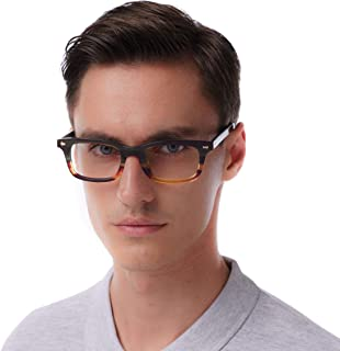 Eyeglasses strong look bold rectangular clear lens two toned acetate frame-nerver fade of color