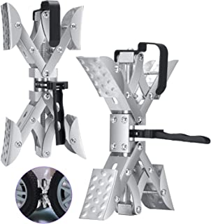 ETE ETMATE X-Type Chock Wheel Stabilizer, Tire Locking Chocks Stabilizers with One Piece Quick Expansion and Contraction W...