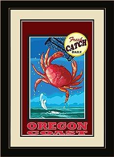 "Northwest Art Mall JK-3768 FGDM DC Oregon Coast Dungeness Crab Framed Wall Art by Artist Joanne Kollman, 16 x 22"""