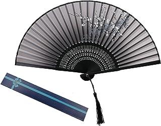 KAKOO ventilador plegable seda de ciruelo flor con la caja de regalo abanico mano de bambú de mango de las mujers boda bai...