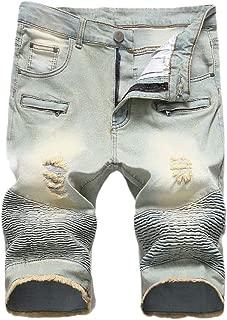 Mogogo Men's Washed with Side Shirring Holes Pocket Bomber Denim Shorts
