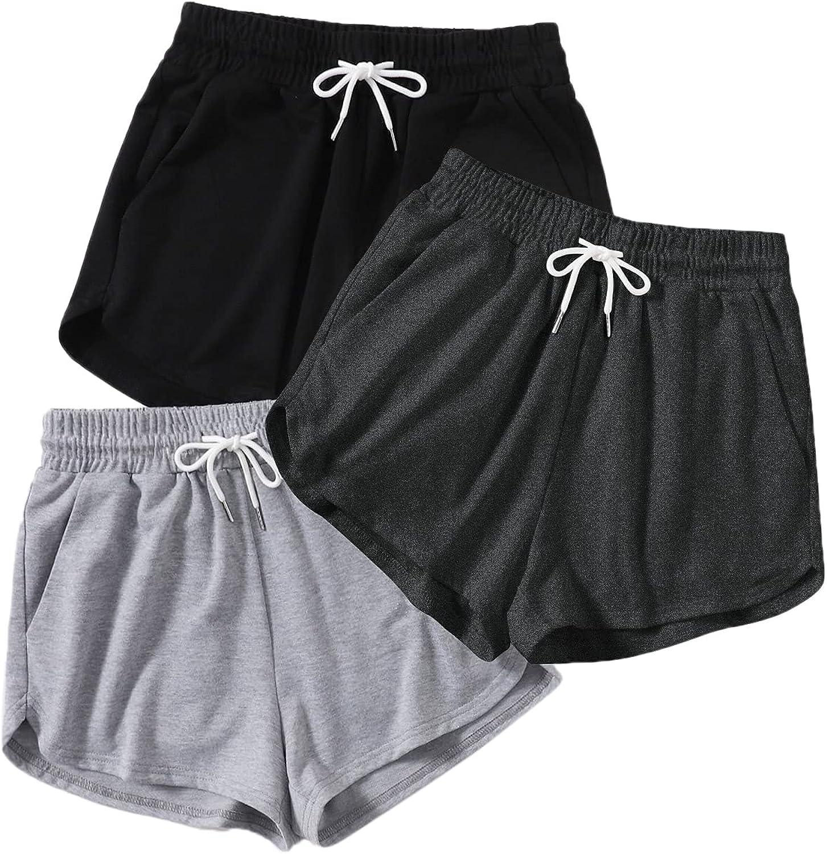 SheIn Women's Plus Size 3packs Drawstring Waist Sports Track Shorts with Pockets