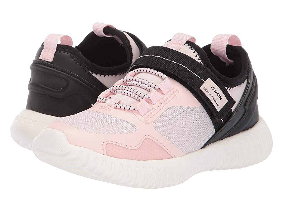 Geox Kids Waviness Girl 9 (Little Kid) (Light Rose/Black) Girl