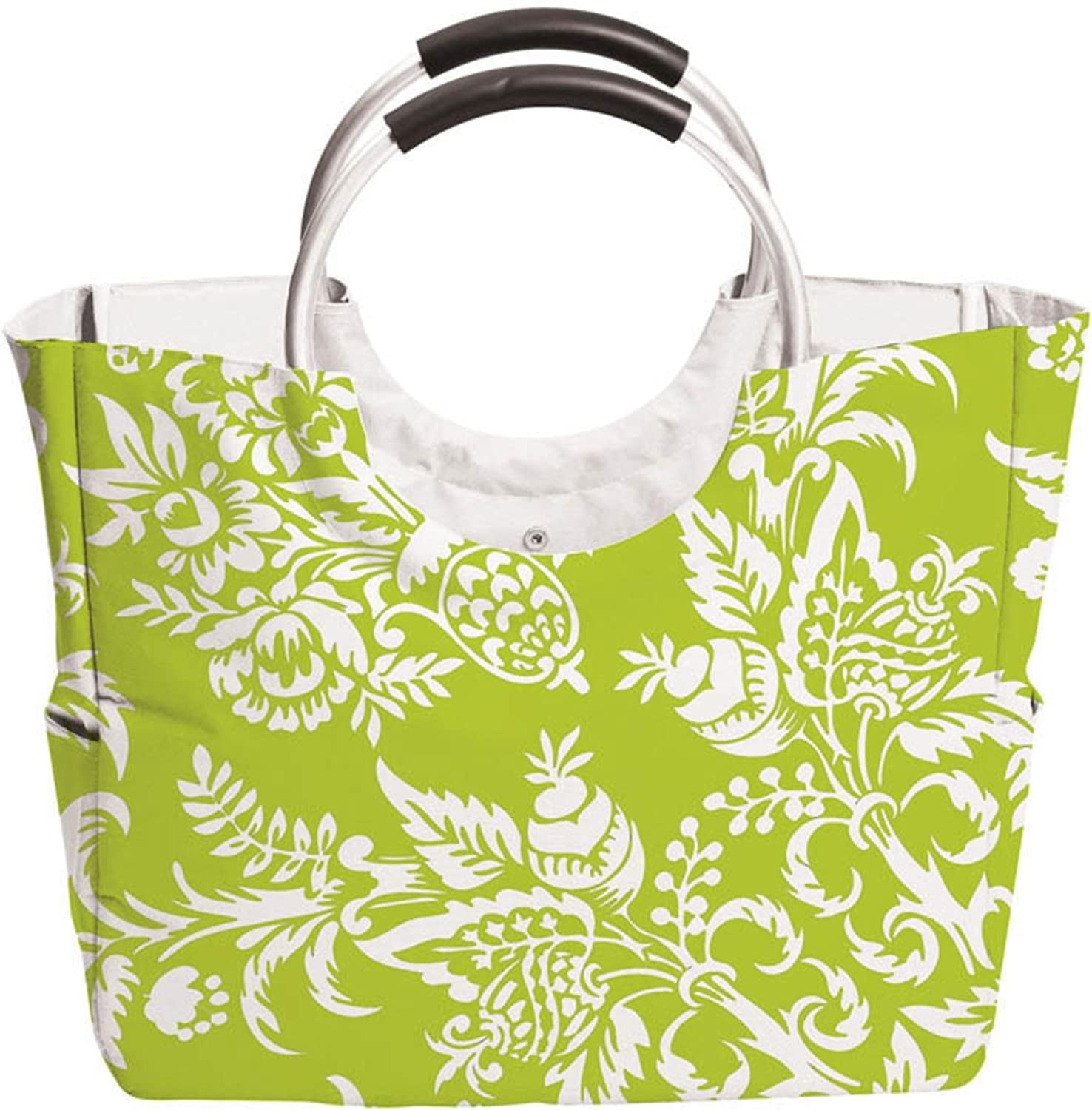 24\  Green & White \ Felicia\  Fully Insulated Tote Bag with Metal Handles