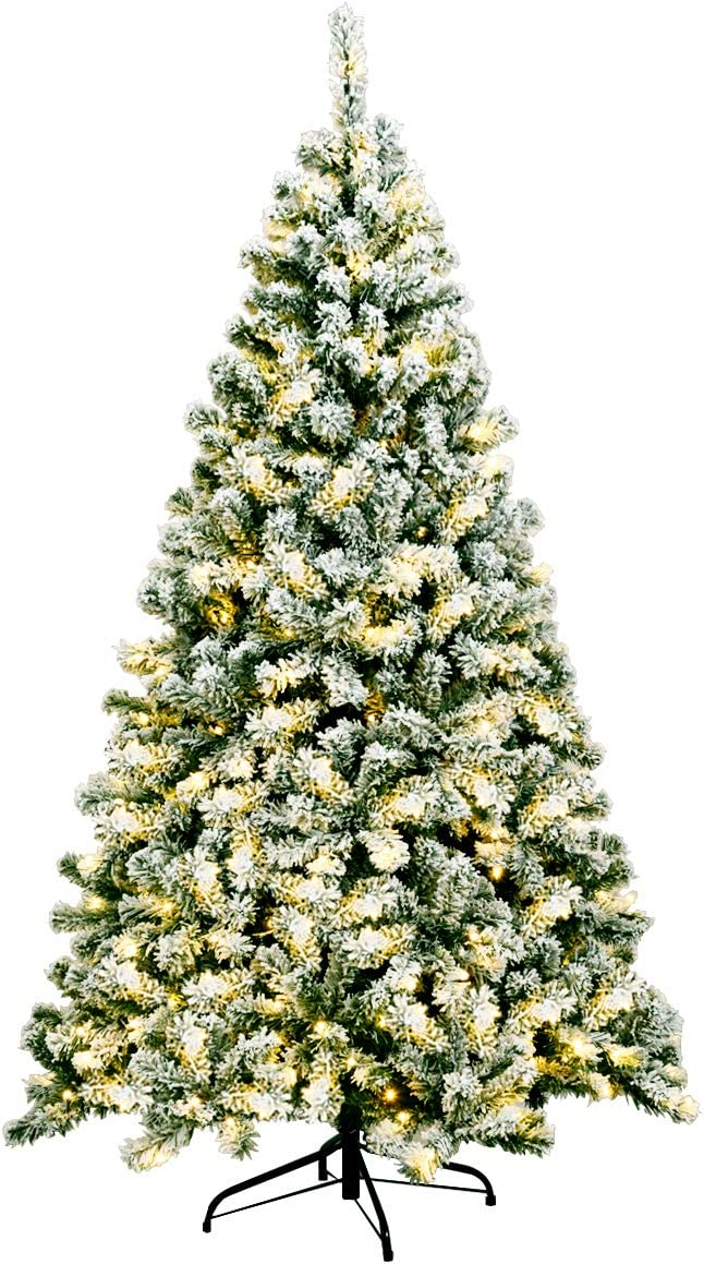 Limited time OFFer sale Goplus 6ft Artificial Snowy Christmas Snow Tree Flocked Pre-Lit