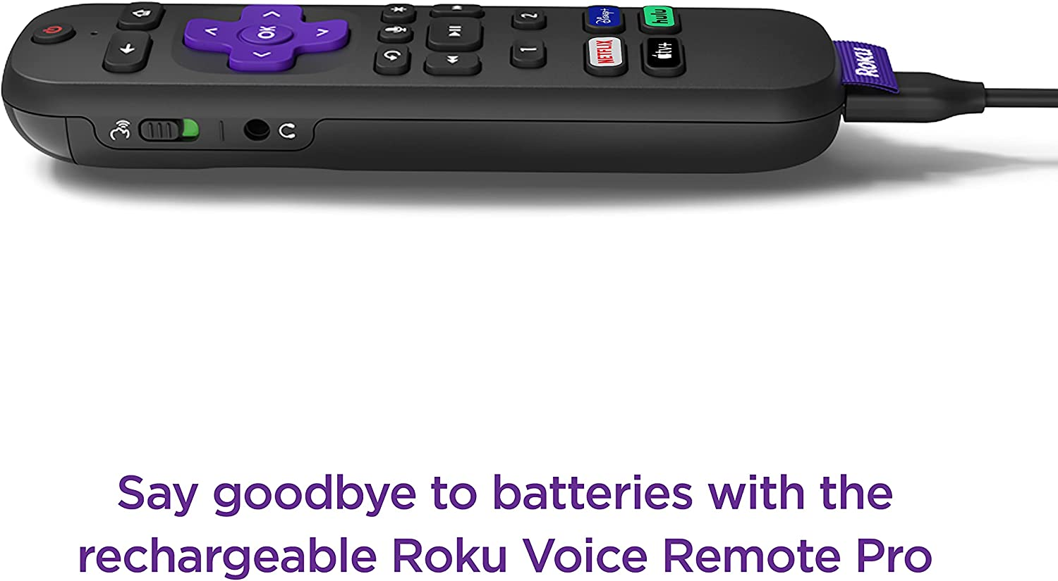 Roku Voice Remote Pro | Rechargeable voice remote with TV controls, lost remote finder, private listening, hands-free voice controls & personal shortcut buttons for Roku players Roku TV, & Roku audio