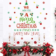 Merry Christmas Quotes Wall Decals(43 decals), Happy New Year Quotes Stickers, Christmas Tree Mistletoe Stars Fireworks Candle Snowflake Wall Art for Christmas Party Supplies Window Clings Door fridge