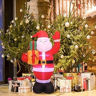 HITECHLIFE Papá Noel inflable de Navidad con luz LED blanca, Papá Noel de Navidad soplado por aire de 1,5 m con bolsa de regalo, Decoraciones iluminadas de interior para exteriores para jardín