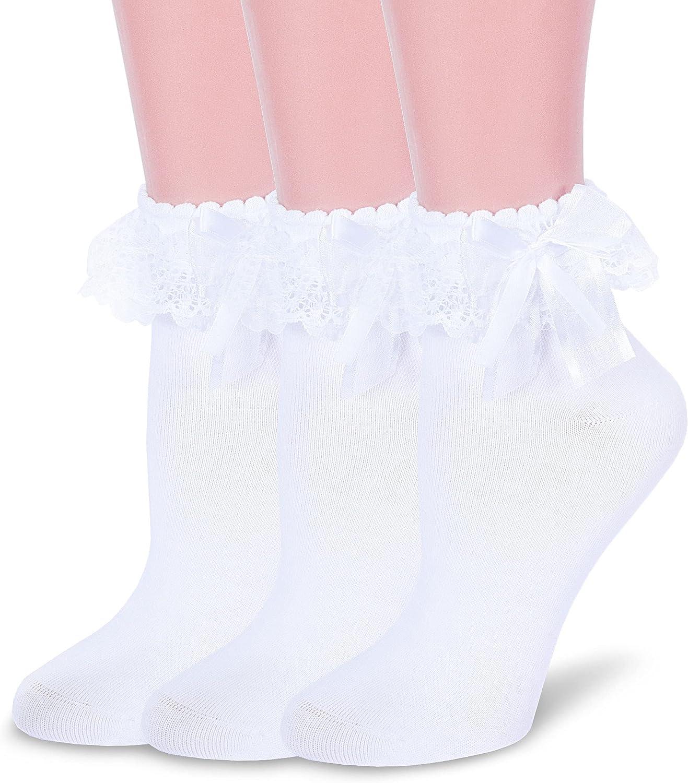 VIVIKI Women Ankle Socks, Lace Ruffle Socks Fashion Girl Princess Frilly Socks