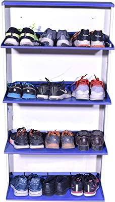 Nandini Shoe Rack/Cabinets |Metal Rack|Rust Free|Vastu|Shoe Organiser|Wall Hanging|Unique for Home and Offices(4 Shelve) - Blue-Cream 55 x 27 x 5
