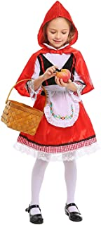 Little Red Riding Hood Costume for Girls Kids Halloween Cosplay Party Dress Outfits