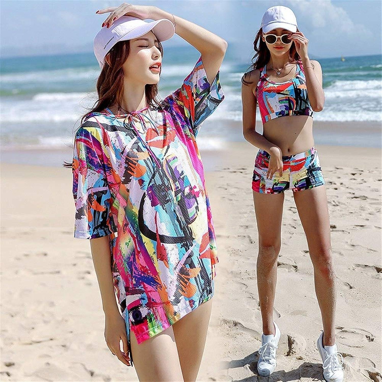 HUOYUJIE Damen Badebekleidung, Sommerurlaub Strand Badeanzug Damen Split Boxer Konservative Sport Badeanzug Dreiteiliges Set JF (Farbe   rot, Größe   XXL)
