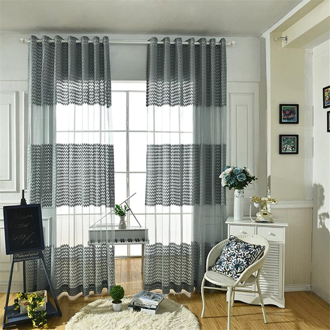 eTRY Gray Chevron Stripe Sheer Curtain Panel for Living Room Bedroom Window Treatment Drapes Grommet Top 52 x 96 Inch 1 Panel