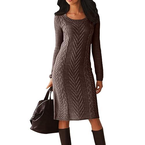 9127011b20 Dearlove Women s Long Sleeve Crew Neck Slim Knit Sweater Bodycon Midi Dress