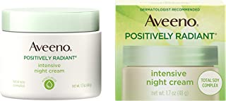 Aveeno Positively Radiant Intensive Moisturizing Face & Neck Night Cream for Tone & Texture, Total Soy Complex & Vitamin B...