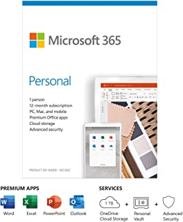 Microsoft 365 Personal   Office 365 apps   1 user   1 year subscription   PC/Mac, Tablet and phone   multilingual   box