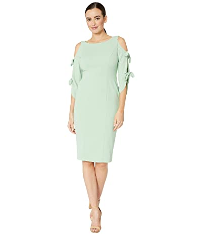 Donna Morgan Crepe Midi Long Sleeve with Tie Detail (Mint) Women