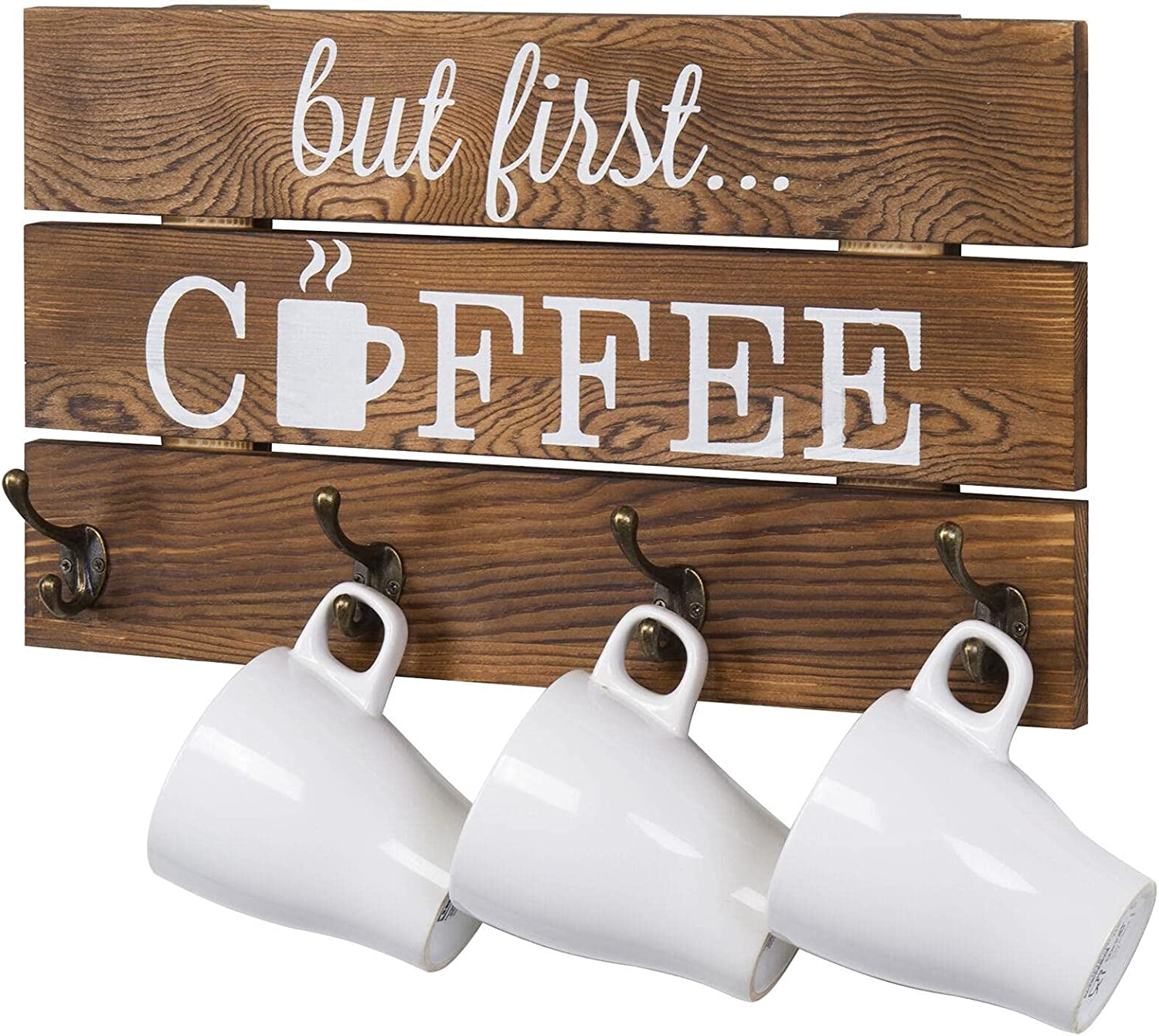 8 Hook Rustic Dark Tampa Mall Omaha Mall Brown Wood But Hold Coffee Mug Sign First and