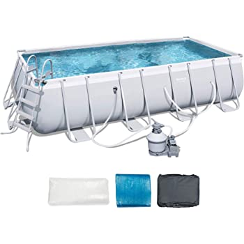 Bestway 18' x 9' x 4' Power Steel Frame Above Ground Rectangular Swimming Pool Set with 1000 GPH Sand Filter Pump, Pool Cover, and Ladder