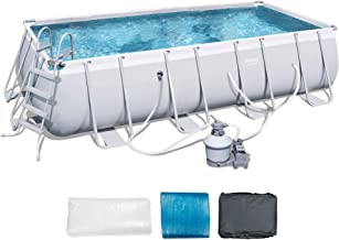 Bestway 18ft x 9ft x 48in Rectangular Frame Above Ground Pool with Ladder & Pump