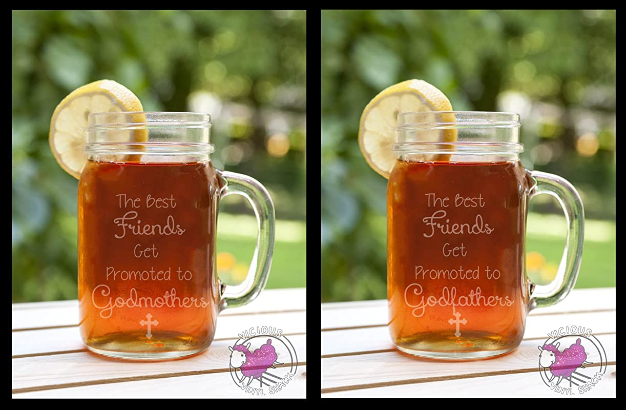 Set Of TWO The Best Friends Get Promoted To Godmothers Godfathers Etched Glass Mason Jar Mugs With Handle Baby Announcement Christening Baptism Will You Be Godparents Godmom Ask