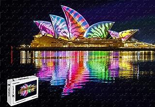 PigBangbang,29.5 X 19.6 Inch,Intellective Games Premium Basswood Jigsaw Glue - Opera House Sydney Australia Night - 1000 Piece Jigsaw Puzzle