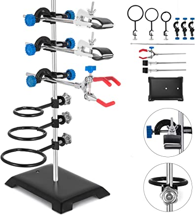 Laboratory Grade Metalware Set with 2 Retort Rings and 1 Cork Lined Burette Clamp 40CM Laboratory Stands Support Lab Clamp Flask Clamp Condenser Clamp Stands Lab /& Scientific Supplies Glassware /& Labw
