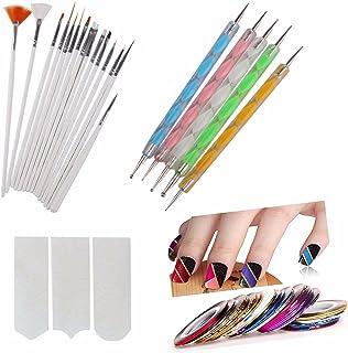 FOK Nail Art Paint Kit ( Nail Brush Set 15 pc , 2 Way Marbleizing Dotting Pen 5 pc, Nail Striping Tape 10 pc , French Mani...
