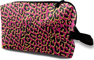 Punk Leopard Pink Travel Makeup Cute Cosmetic Case Organizer Portable Storage Bag for Women