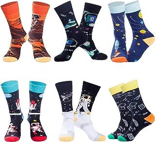 Mens Funny Socks Christmas Socks for Men Women Colorful Fun Novelty Crew Patterned Socks 6 Pack US 7-13