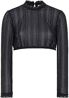 Spieth & Wensky Damen Dirndl Bluse hochgeschlossen aus Spitze mit Langen Ärmeln schwarz, SCHWARZ,