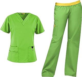 WonderWink Origins Women`s Scrub Set Bundle- 6016 Bravo Top & 5016 Quebec Cargo Pant & Marc Stevens Badge Reel