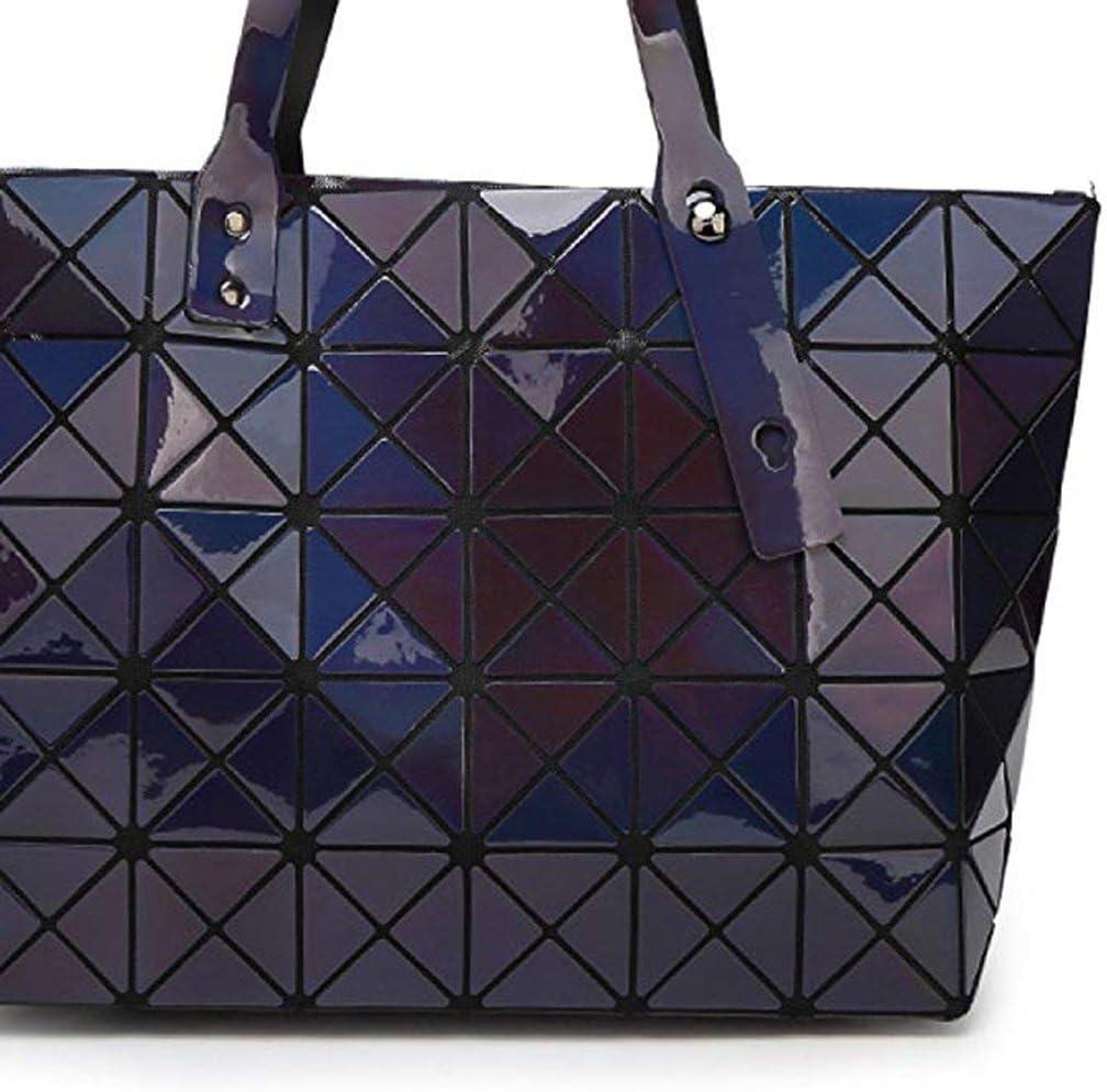 HQQ Les Sacs Pliables de Femmes Sacs à Main géométriques Lingge Mode cosmétiques Sacs de Rangement (Couleur : Silver) Bleu Foncé