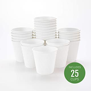 25-CT Disposable White 8-OZ Hot Beverage Cups with Ripple Wall Design: No Need for Sleeves – Perfect for Cafes or Home Use – Eco-Friendly Recyclable Paper – Insulated – Wholesale Takeout Coffee Cup