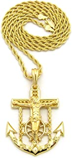 Jesus Crucified Anchor Cross Pendant 24