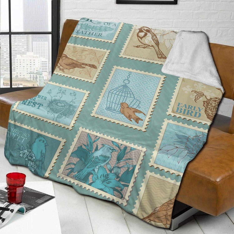 Retro Bird Postage Max 84% OFF Lamb Wool Super Max 89% OFF Throw Blanket Double-Sid Soft