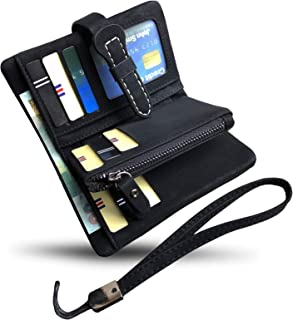 (Black3) - Women's Small Bifold Leather wallet Rfid blocking Ladies Wristlet with Card holder id window Coin Purse (Black3)