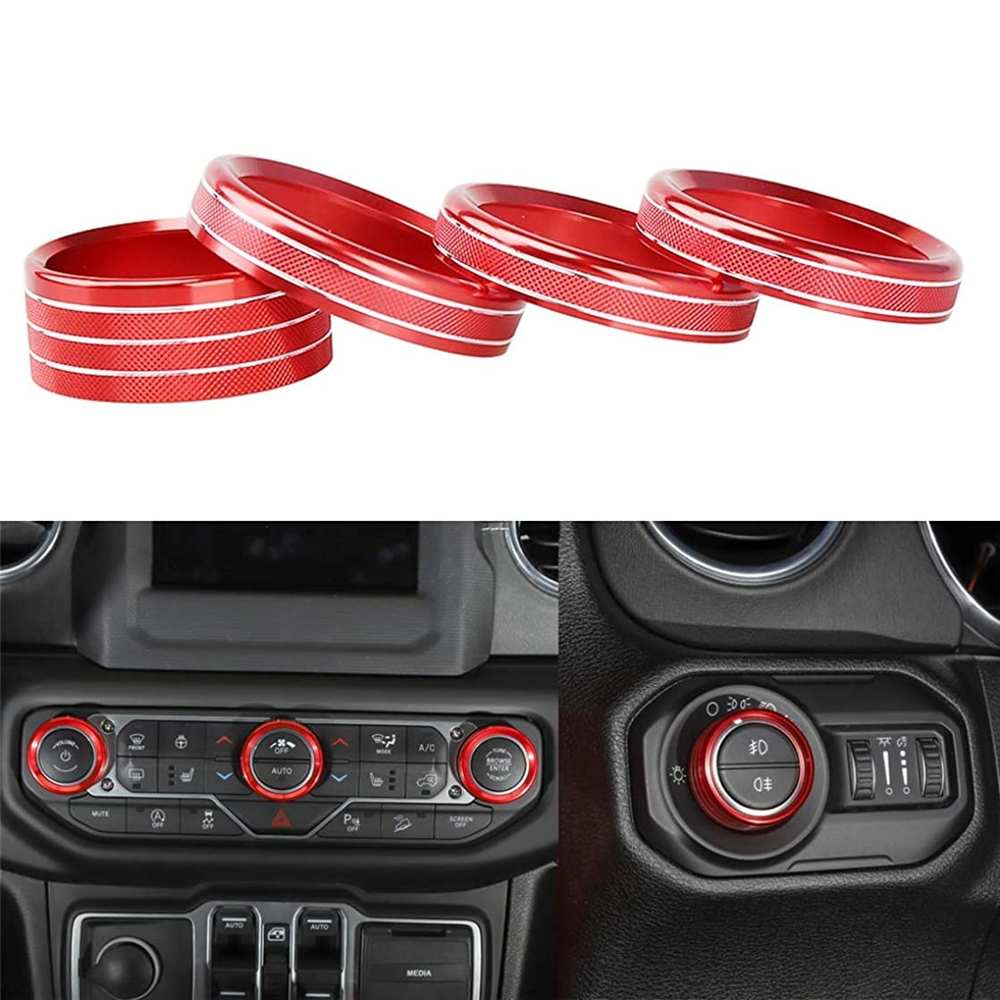 4ps Car Interior Accessories Air Conditioner Audio Switch Decorative Ring Button Cover, Air Conditioning & Headlight Switch Knob Ring Cover Decor Trim for Jeep Wrangler JL 2018(Red)