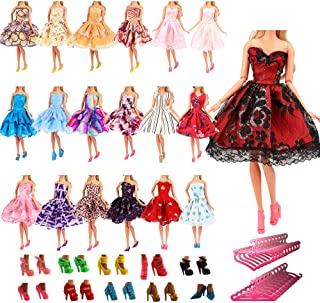 Barwa 5 Pcs Fashion Mini Short Party Dresses Clothes + 5 Shoes + 5 Hanger Doll Gift