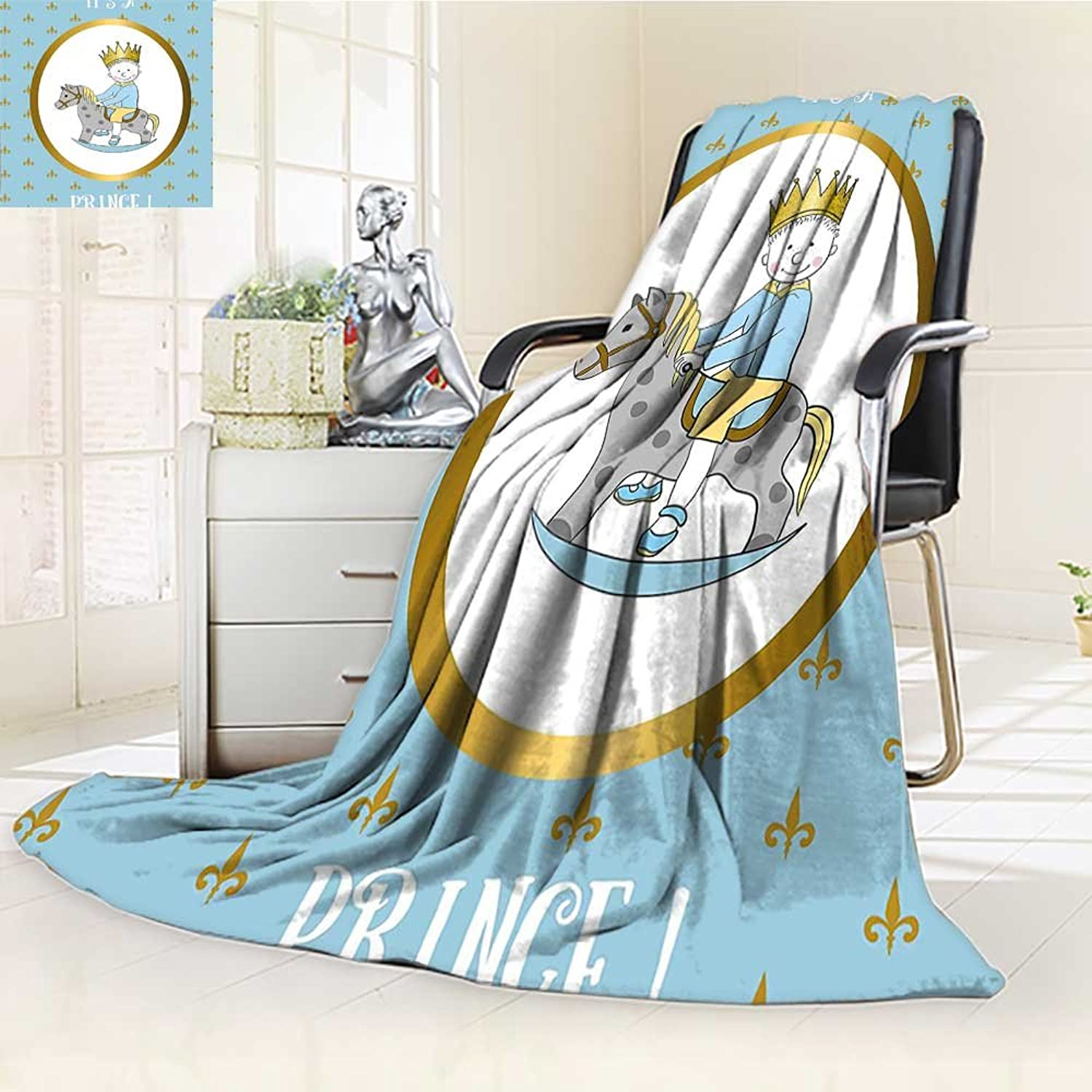 YOYI-HOME Soft Warm Cozy Throw Duplex Printed Blanket Its A Prince Quote with Newborn Boy Riding Horse Damask gold Light bluee Anti-Static,2 Ply Thick,Hypoallergenic W39.5  x H59