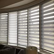 Faux Linen Zebra Shade Cordless Free-Stop Zebra Blind with Dual Layer for Bedroom//Living Room//Office 21 5//8x70 Steel Grey