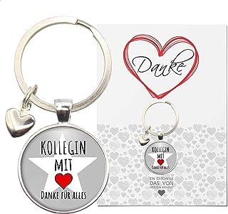 MeLifestyle Geschenkkarte mit Cabochon Schlüsselanhänger Kollegin mit Herz Danke für Alles Karte Geschenk Arbeit