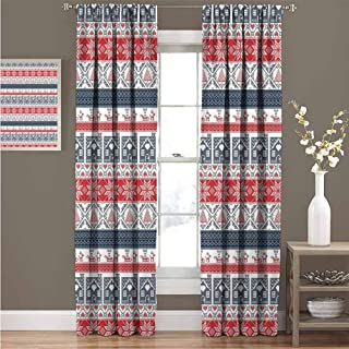 GUUVOR Nordic Room Darkened Heat Insulation Curtain Scandinavian Inspirations Winter Stitch Gingerbread House and Tree Sleigh Living Room W84 x L84 Inch Dark Blue Red White