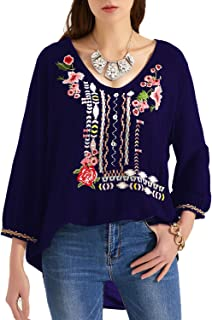 MANSY Womens Embroidered Boho V Neck Loose Mexican Peasant Shirts Tunics for Women Tops Blouses