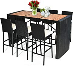 Tangkula 7 PCS Outdoor Dining Set, Patio Wicker Furniture Set with Acacia Wood Table Top and Removable Cushion, Conversati...