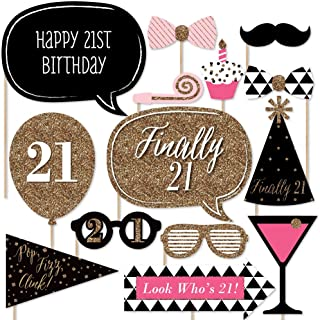 Finally 21 Girl - 21st Birthday Photo Booth Props Kit - 20 Count
