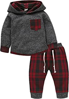 KONIGHT Kids Toddler Baby Boys Girls Fall Clothes Outfit Winter Long Sleeve Plaid Pocket Hoodie Sweatshirt Jackets Shirt+Pants Set