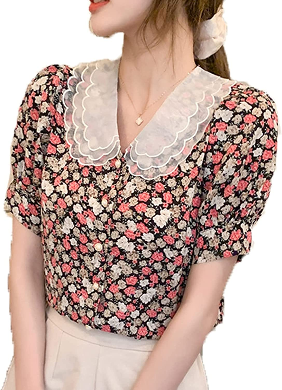 Women's High quality T-Shirt Casual Chic Anti-Fading Loose OFFicial store Breathable Lace Sw