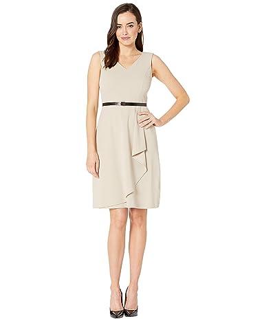 Calvin Klein V-Neck Ruffle Hem Dress w/ CK Logo Belt (Kahki) Women