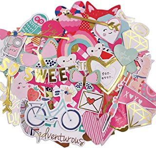 Scrapbook Stickers,80pcs Cardstock Stickers Love Stickers Decorative Masking Stickers for Personalize Laptop Scrapbook Daily Planner and Crafts